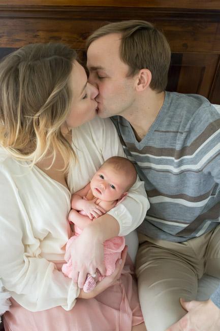 feather + light photography | wayne, pa newborn photographer | lifestyle photography | newborn baby girl | pink + white
