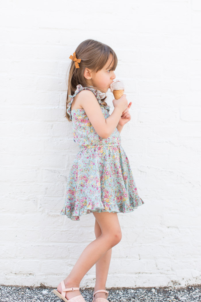 feather + light photography | child fashion blogger | little miss | little minis | ice cream | vintage floral dress for girls